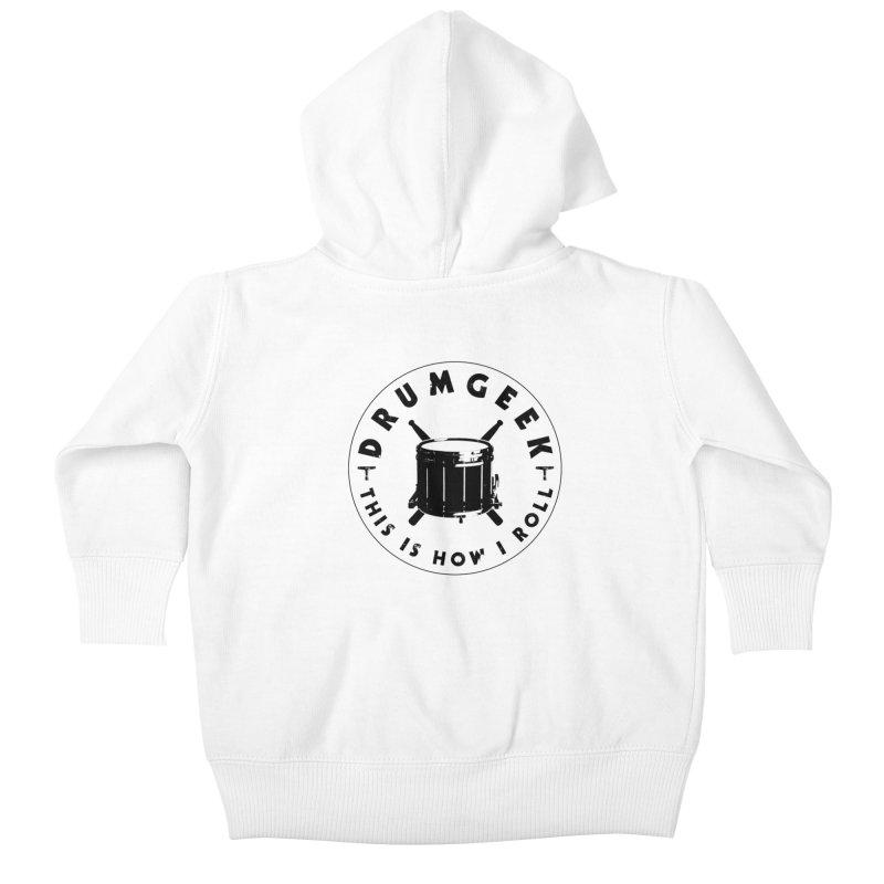 This Is How I Roll (Drumline) - Black Logo Kids Baby Zip-Up Hoody by Drum Geek Online Shop