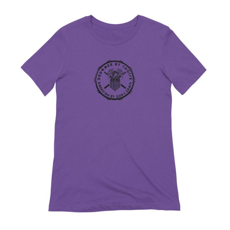 Drummer By Choice (America) - Black Logo Women's Extra Soft T-Shirt by Drum Geek Online Shop