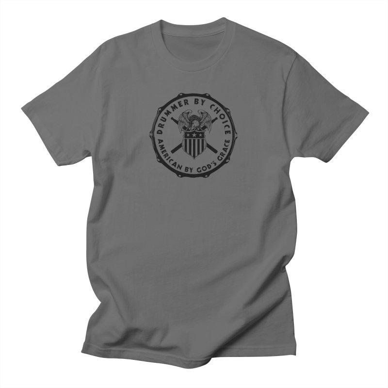 Drummer By Choice (America) - Black Logo Men's T-Shirt by Drum Geek Online Shop