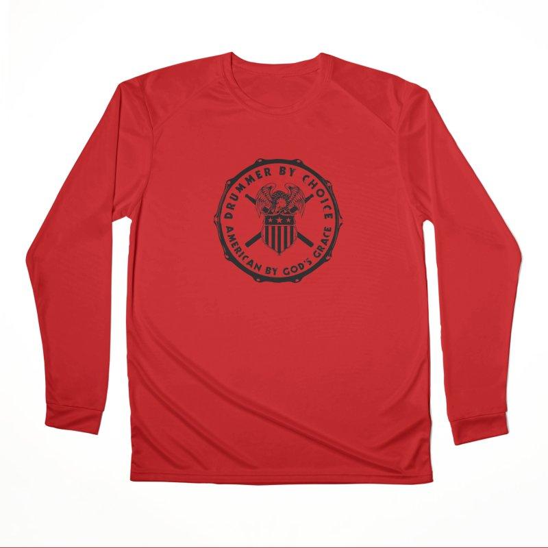 Drummer By Choice (America) - Black Logo Men's Performance Longsleeve T-Shirt by Drum Geek Online Shop