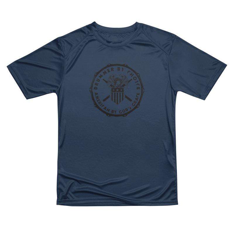 Drummer By Choice (America) - Black Logo Men's Performance T-Shirt by Drum Geek Online Shop