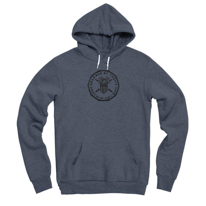 Drummer By Choice (America) - Black Logo Men's Sponge Fleece Pullover Hoody by Drum Geek Online Shop