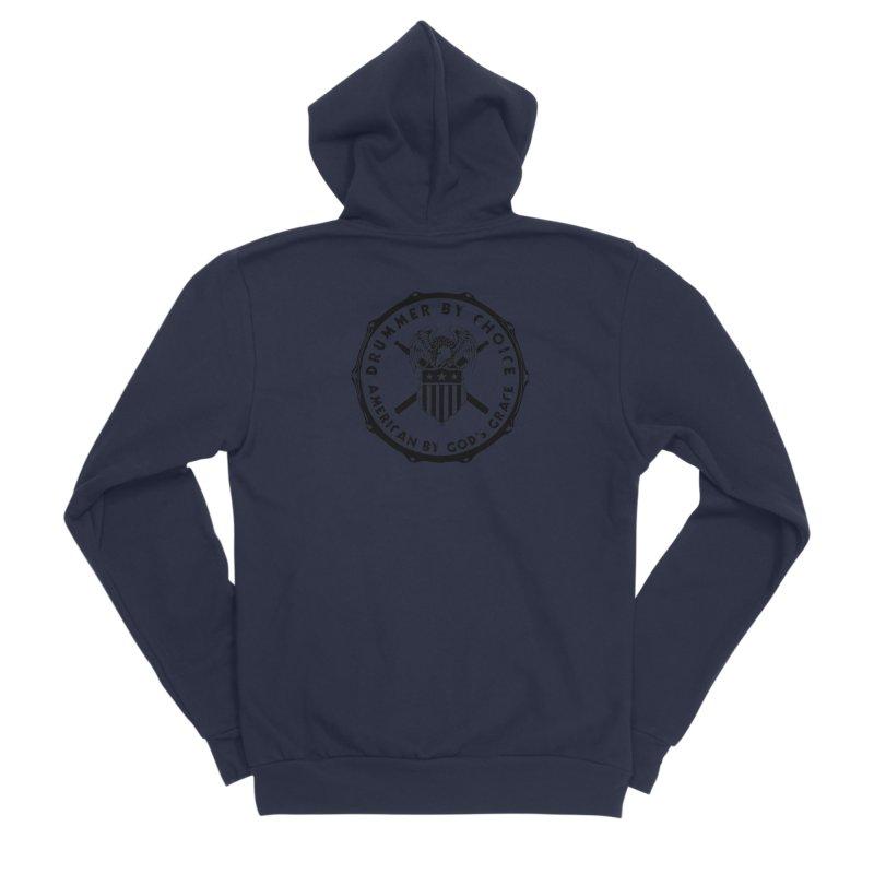 Drummer By Choice (America) - Black Logo Men's Sponge Fleece Zip-Up Hoody by Drum Geek Online Shop