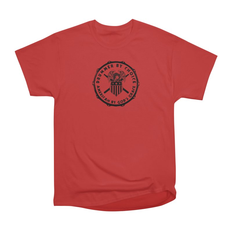 Drummer By Choice (America) - Black Logo Men's Heavyweight T-Shirt by Drum Geek Online Shop