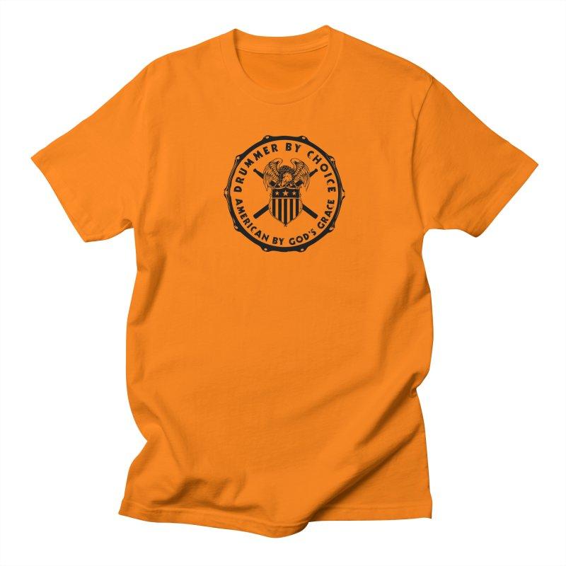 Drummer By Choice (America) - Black Logo Men's Regular T-Shirt by Drum Geek Online Shop