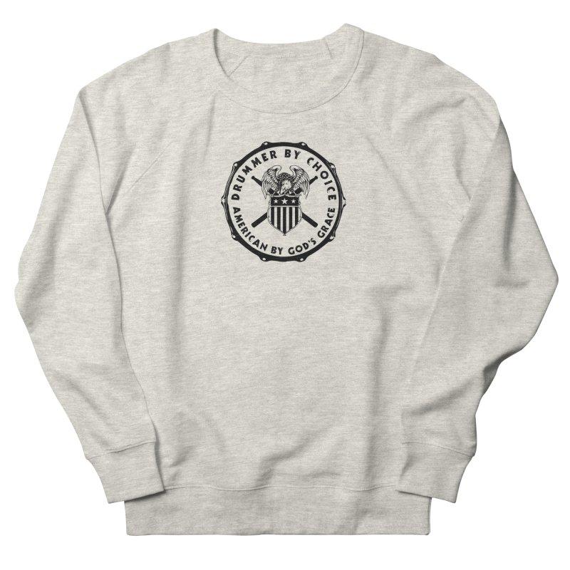 Drummer By Choice (America) - Black Logo Men's French Terry Sweatshirt by Drum Geek Online Shop