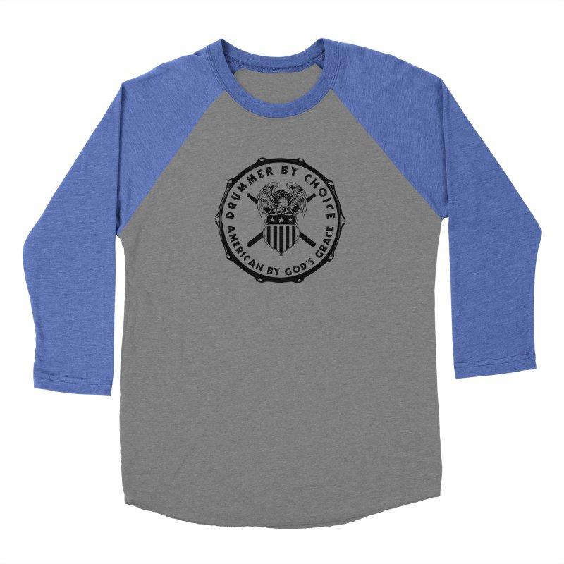 Drummer By Choice (America) - Black Logo Women's Baseball Triblend Longsleeve T-Shirt by Drum Geek Online Shop