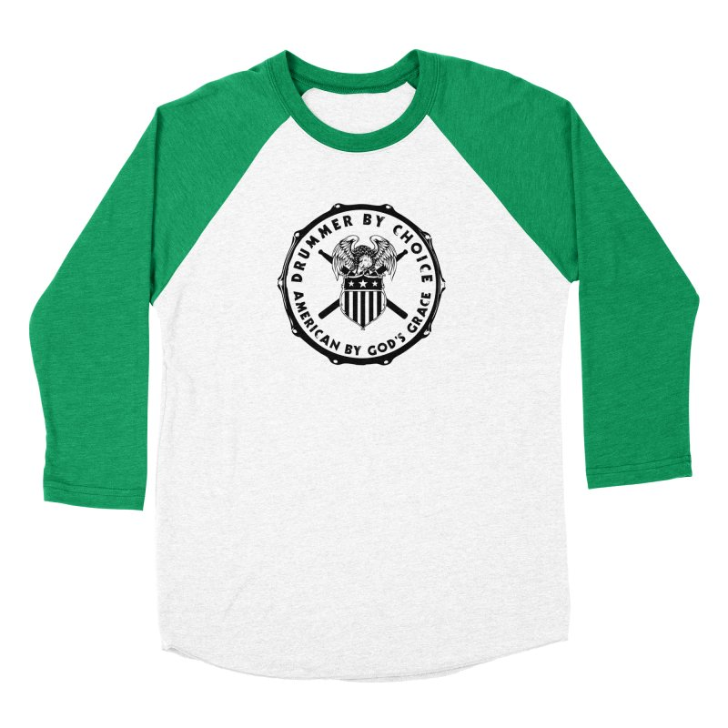 Drummer By Choice (America) - Black Logo Men's Baseball Triblend Longsleeve T-Shirt by Drum Geek Online Shop