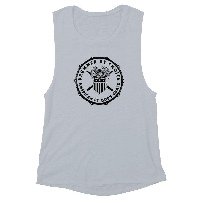 Drummer By Choice (America) - Black Logo Women's Muscle Tank by Drum Geek Online Shop