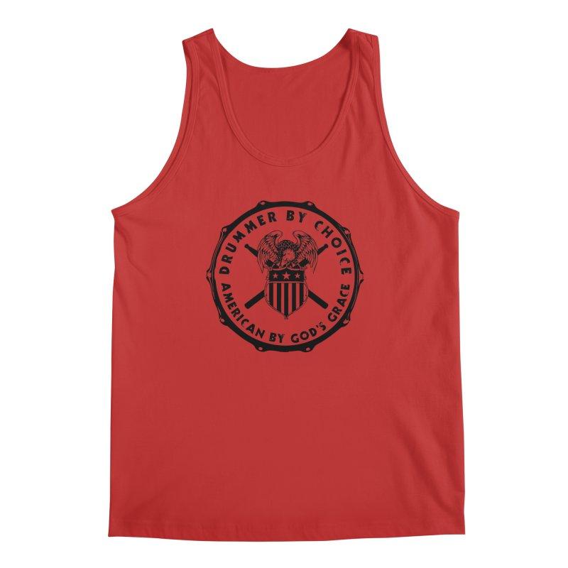 Drummer By Choice (America) - Black Logo Men's Regular Tank by Drum Geek Online Shop