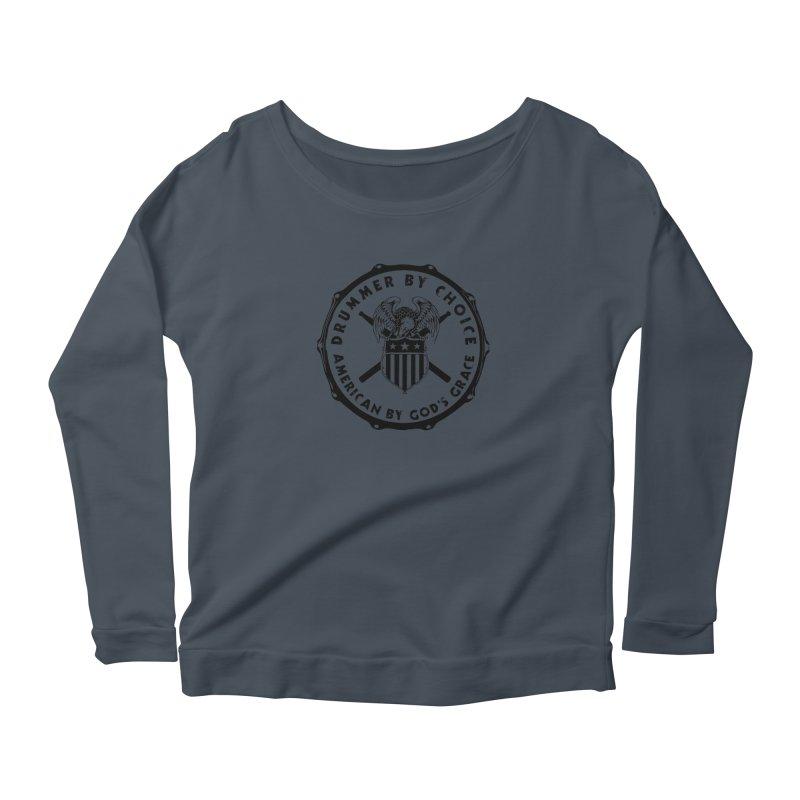 Drummer By Choice (America) - Black Logo Women's Scoop Neck Longsleeve T-Shirt by Drum Geek Online Shop