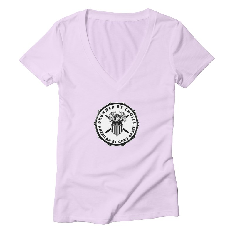 Drummer By Choice (American) - Solid Logo Women's Deep V-Neck V-Neck by Drum Geek Online Shop