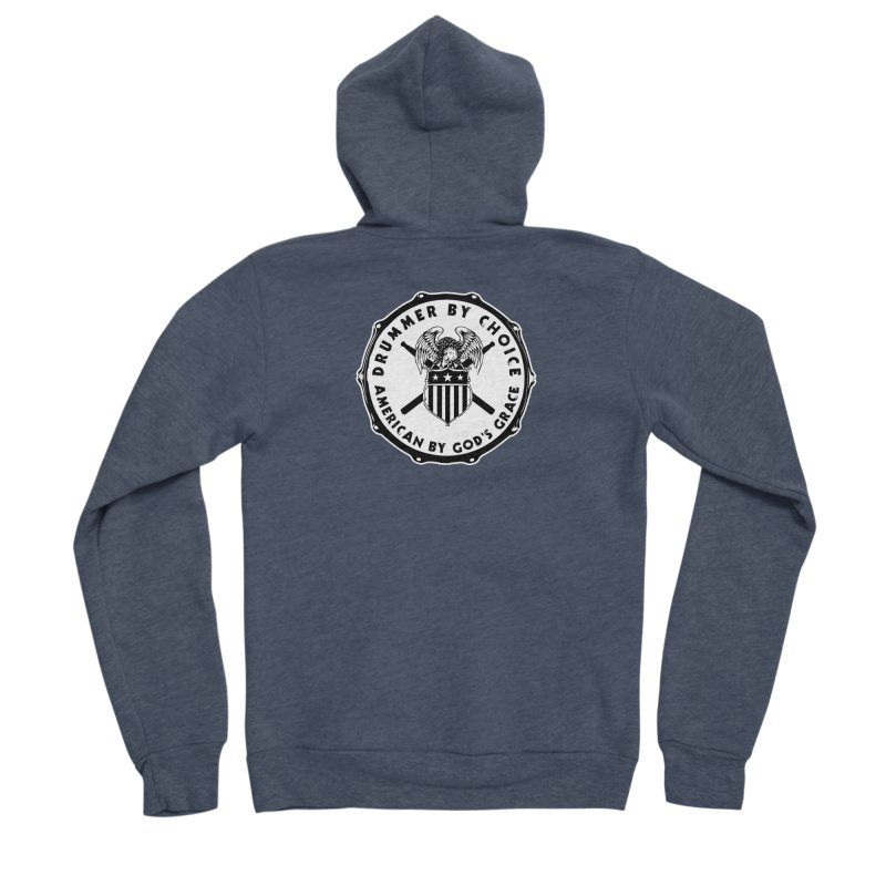 Drummer By Choice (American) - Solid Logo Women's Sponge Fleece Zip-Up Hoody by Drum Geek Online Shop