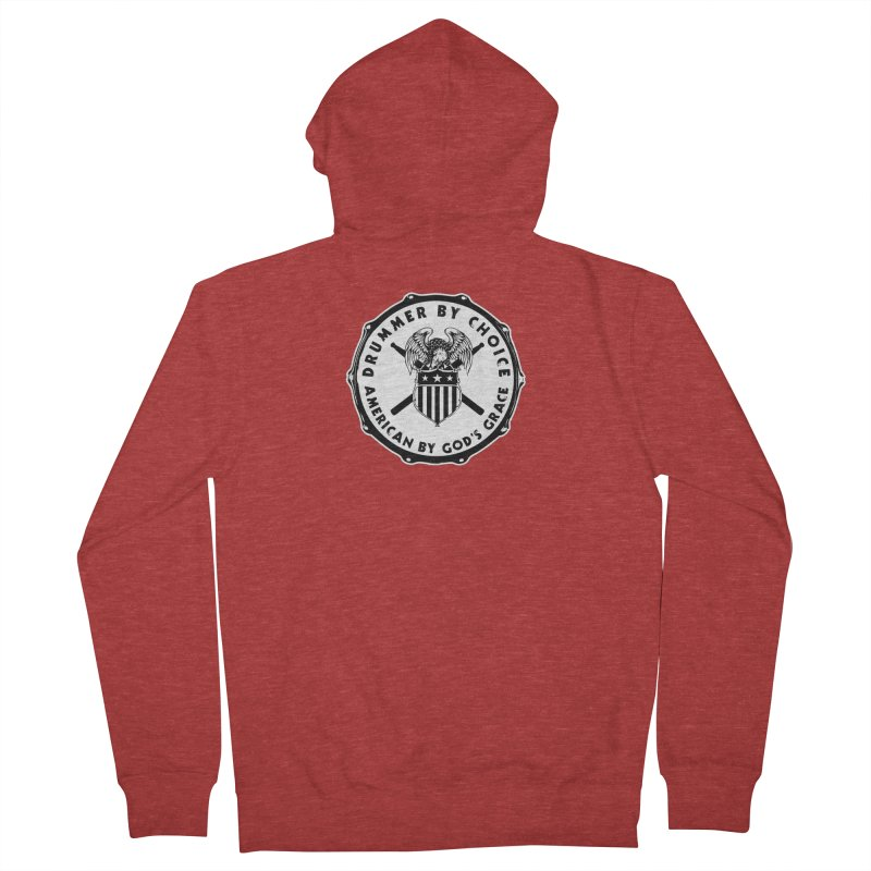 Drummer By Choice (American) - Solid Logo Men's French Terry Zip-Up Hoody by Drum Geek Online Shop