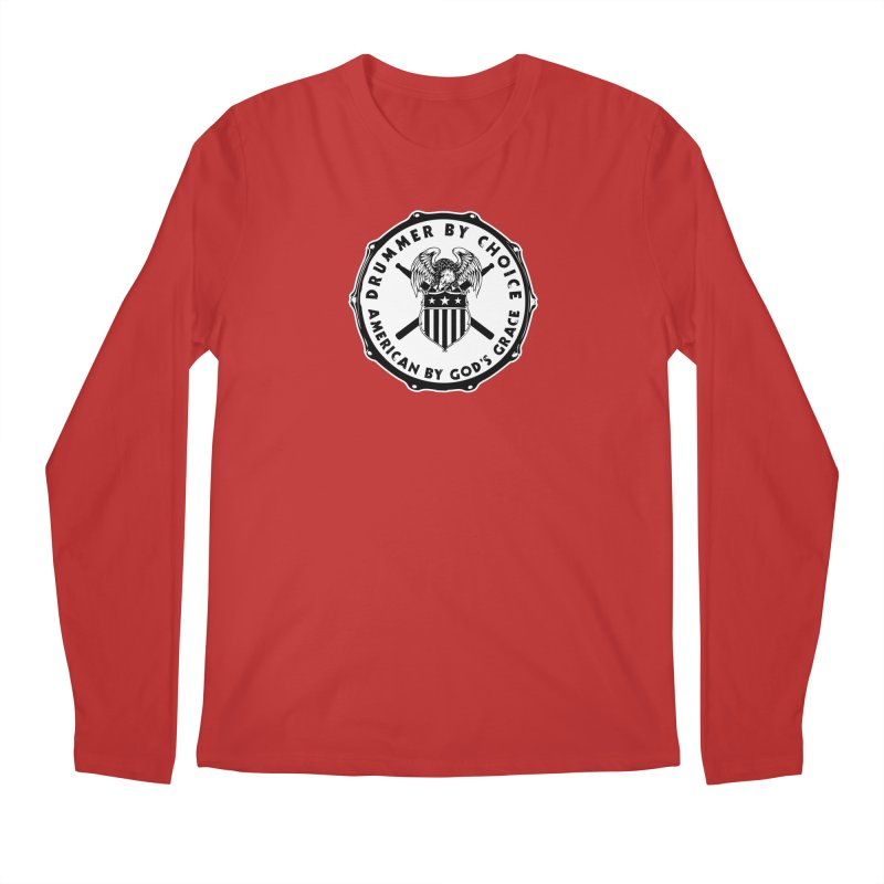 Drummer By Choice (American) - Solid Logo Men's Regular Longsleeve T-Shirt by Drum Geek Online Shop