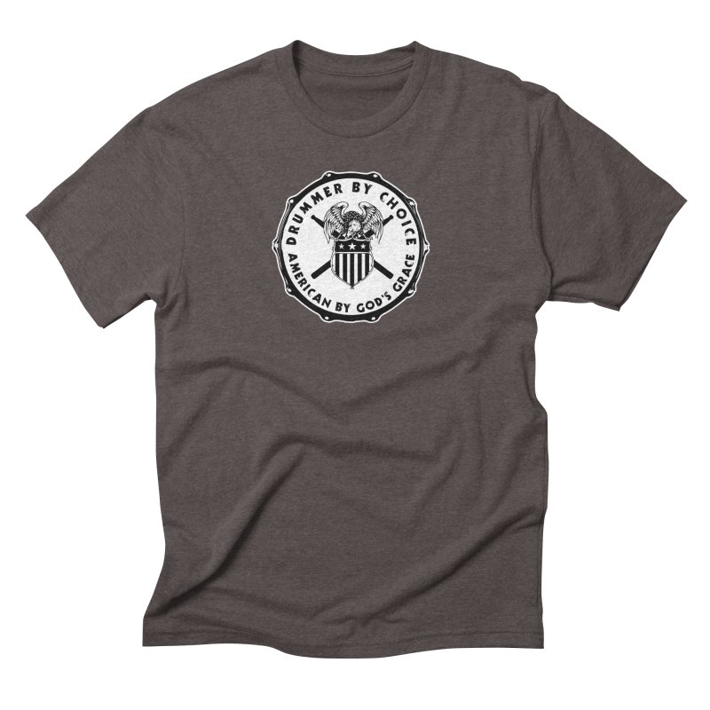 Drummer By Choice (American) - Solid Logo Men's Triblend T-Shirt by Drum Geek Online Shop