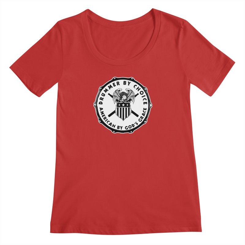 Drummer By Choice (American) - Solid Logo Women's Regular Scoop Neck by Drum Geek Online Shop