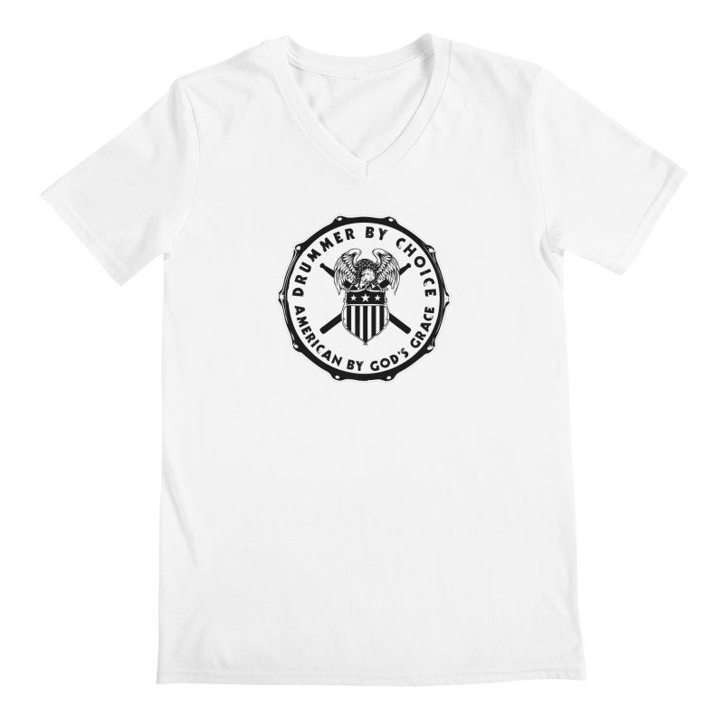 Drummer By Choice (American) - Solid Logo Men's Regular V-Neck by Drum Geek Online Shop