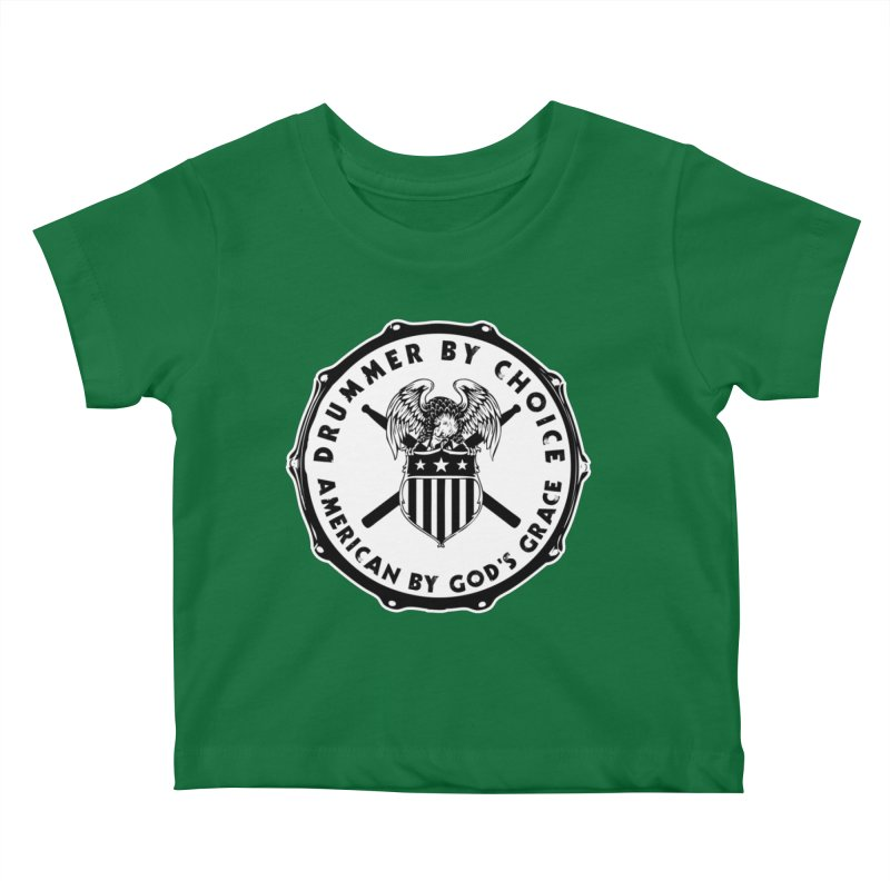 Drummer By Choice (American) - Solid Logo Kids Baby T-Shirt by Drum Geek Online Shop