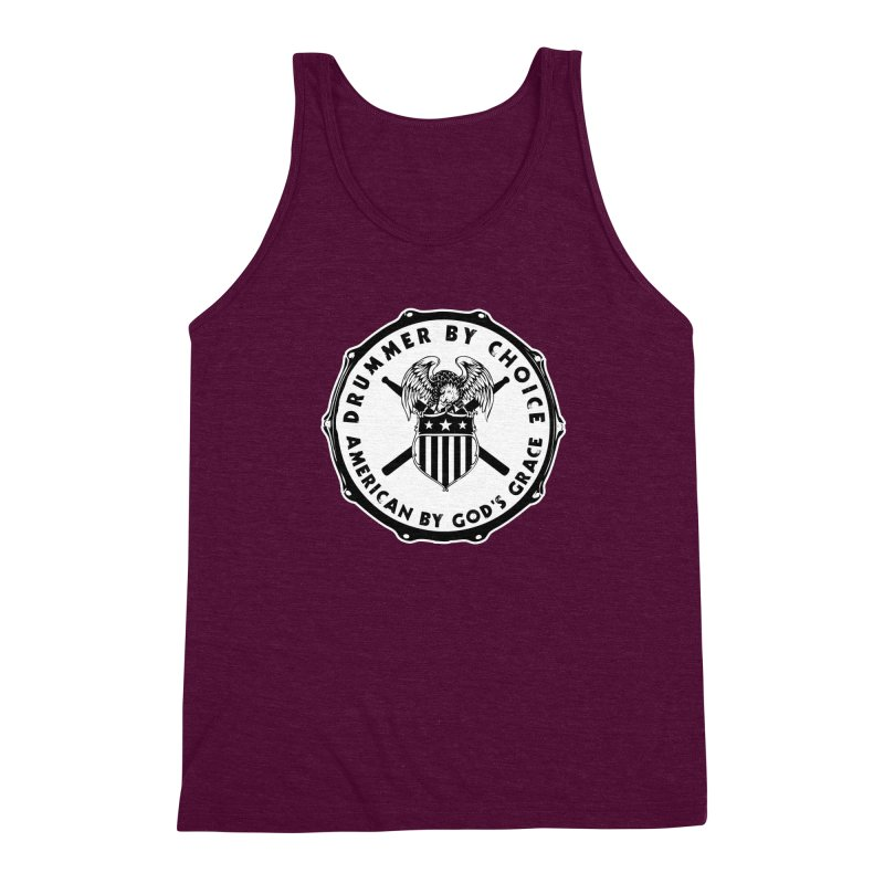 Drummer By Choice (American) - Solid Logo Men's Triblend Tank by Drum Geek Online Shop