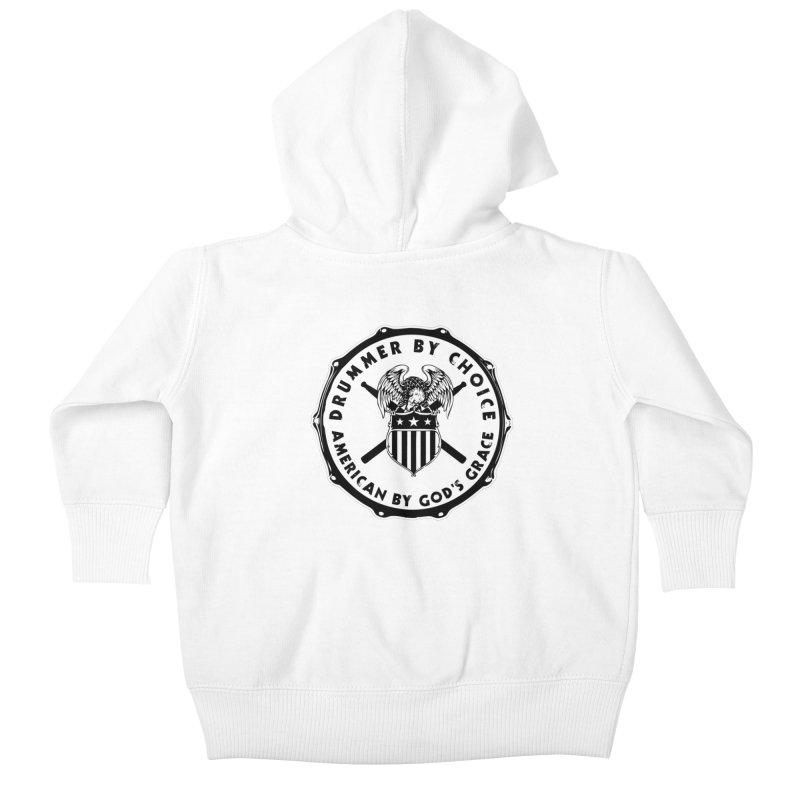 Drummer By Choice (American) - Solid Logo Kids Baby Zip-Up Hoody by Drum Geek Online Shop