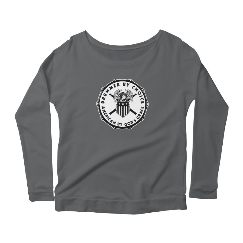 Drummer By Choice (American) - Solid Logo Women's Scoop Neck Longsleeve T-Shirt by Drum Geek Online Shop