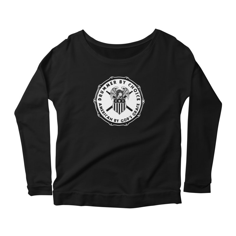 Drummer By Choice (American) - Solid Logo Women's Scoop Neck Longsleeve T-Shirt by Drum Geek Online Shop