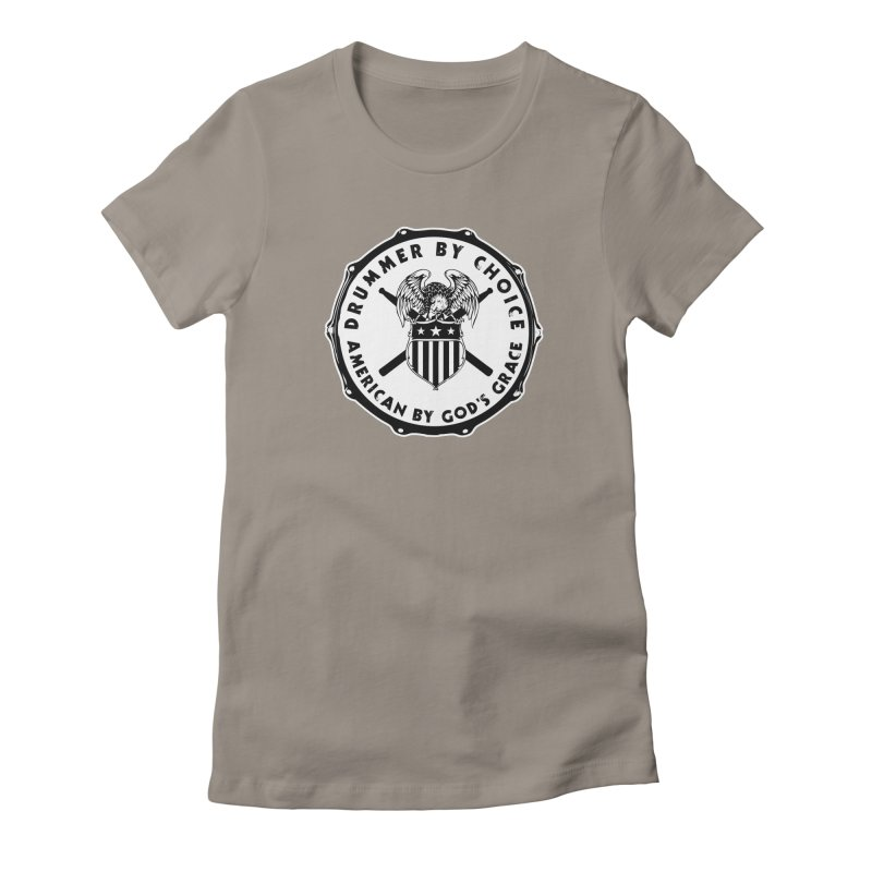Drummer By Choice (American) - Solid Logo Women's Fitted T-Shirt by Drum Geek Online Shop