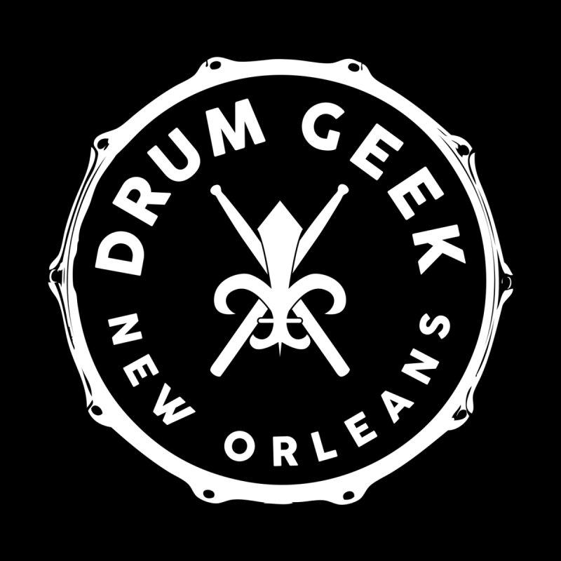 New Orleans Drum Geek - White Logo Men's Pullover Hoody by Drum Geek Online Shop