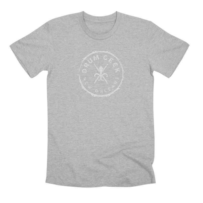 New Orleans Drum Geek - White Logo Men's T-Shirt by Drum Geek Online Shop