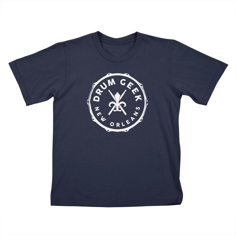 New Orleans Drum Geek - White Logo Kids T-Shirt by Drum Geek Online Shop