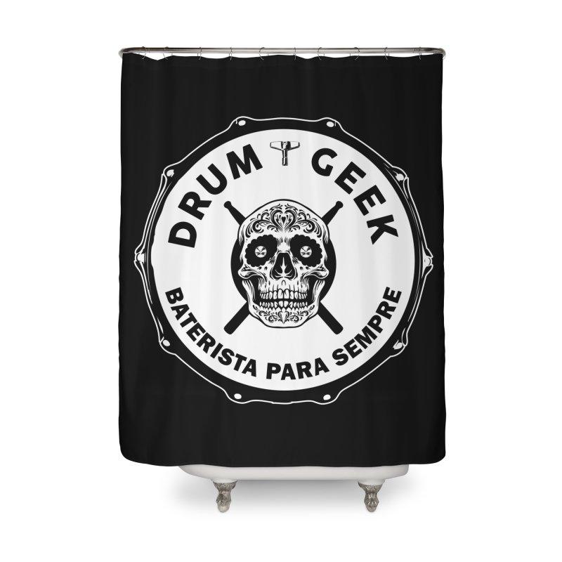 Drum Geek Sugar Skull (Portuguese) - Solid Logo Home Shower Curtain by Drum Geek Online Shop