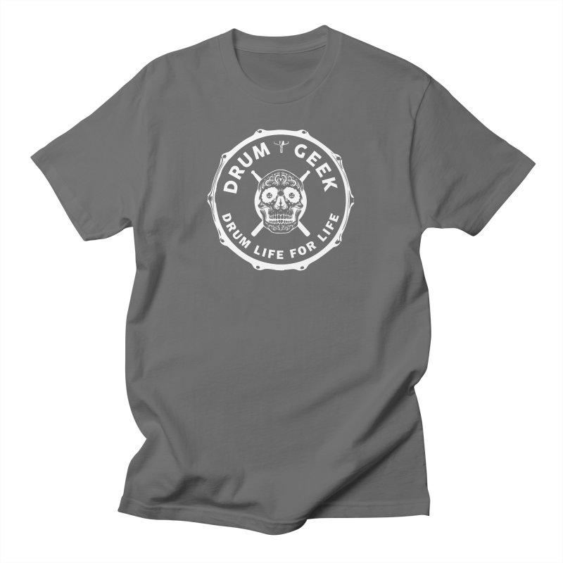 Drum Geek Sugar Skull (English) - White Logo Men's T-Shirt by Drum Geek Online Shop