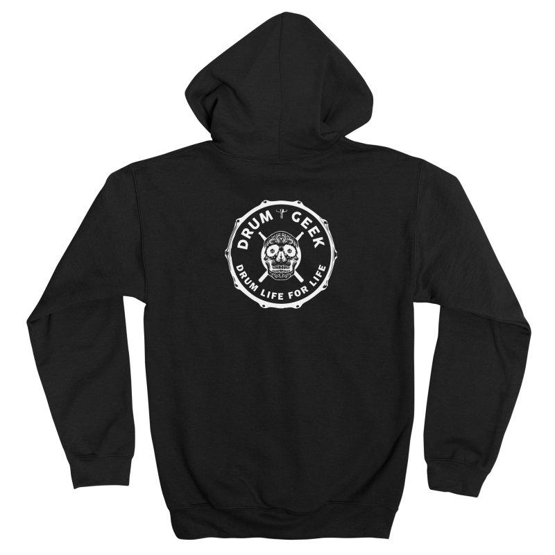 Drum Geek Sugar Skull (English) - White Logo Women's Zip-Up Hoody by Drum Geek Online Shop