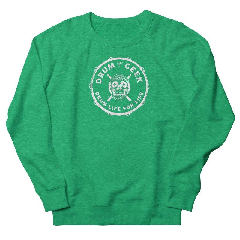 Drum Geek Sugar Skull (English) - White Logo Women's Sweatshirt by Drum Geek Online Shop