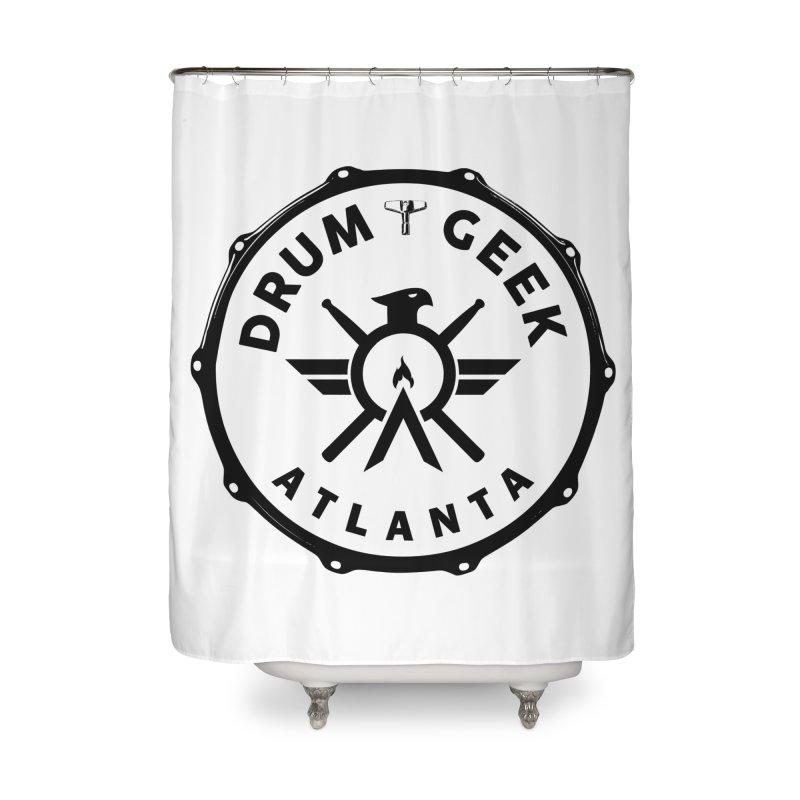 Drum Geek Atlanta - Black Logo Home Shower Curtain by Drum Geek Online Shop