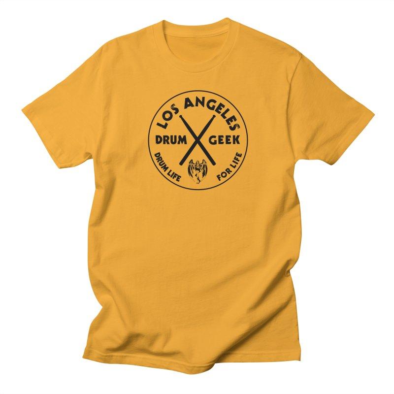 Los Angeles Drum Geek in Men's Regular T-Shirt Gold by Drum Geek Online Shop