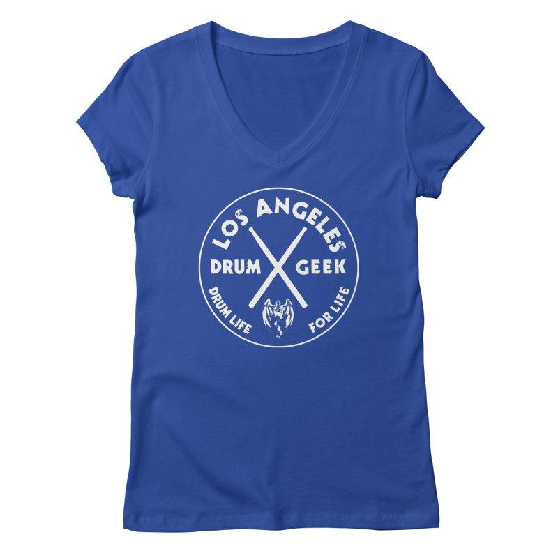 Los Angeles Drum Geek in Women's Regular V-Neck Royal Blue by Drum Geek Online Shop