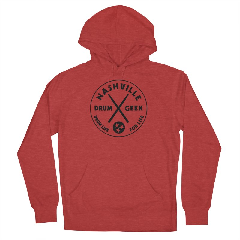 Nashville Drum Geek in Men's French Terry Pullover Hoody Heather Red by Drum Geek Online Shop