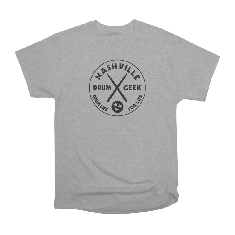 Nashville Drum Geek in Men's Heavyweight T-Shirt Heather Graphite by Drum Geek Online Shop