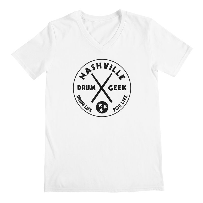 Nashville Drum Geek in Men's Regular V-Neck White by Drum Geek Online Shop