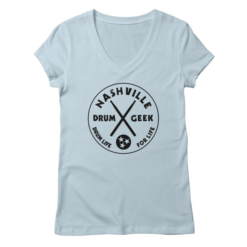 Nashville Drum Geek in Women's Regular V-Neck Baby Blue by Drum Geek Online Shop