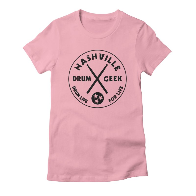 Nashville Drum Geek in Women's Fitted T-Shirt Light Pink by Drum Geek Online Shop