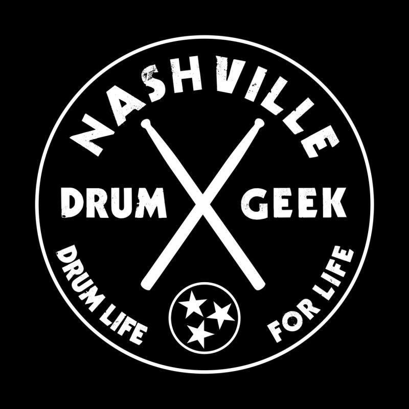 Nashville Drum Geek (Style 1) - White Logo Men's Longsleeve T-Shirt by Drum Geek Online Shop