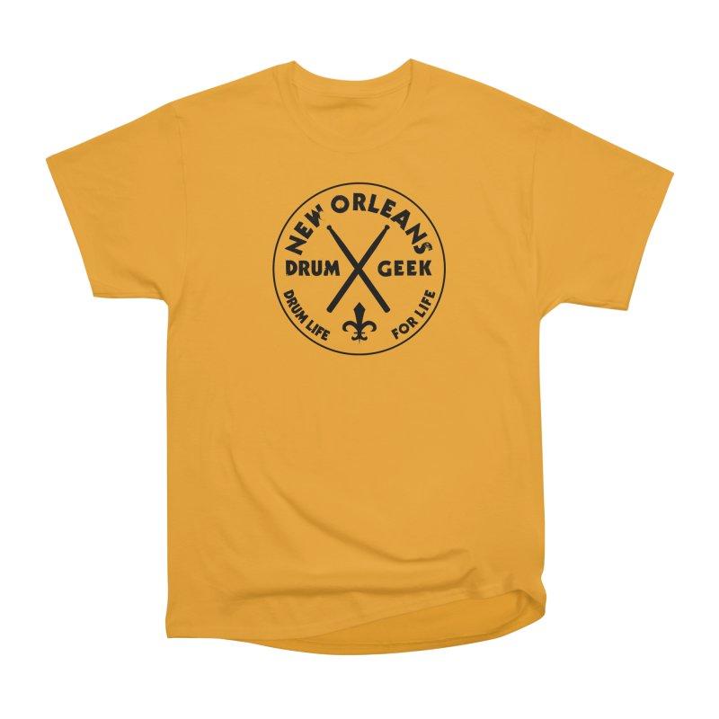 New Orleans Drum Geek in Men's Heavyweight T-Shirt Gold by Drum Geek Online Shop