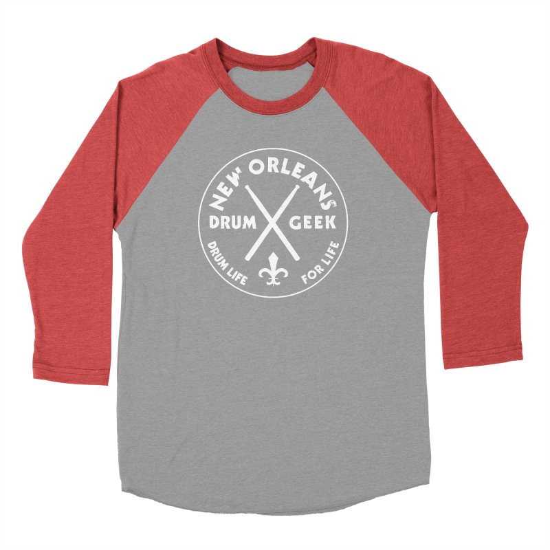 New Orleans Drum Geek in Men's Baseball Triblend Longsleeve T-Shirt Chili Red Sleeves by Drum Geek Online Shop