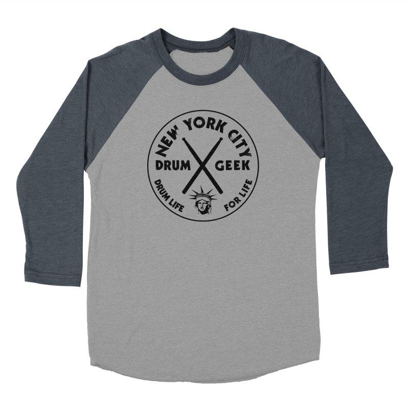 New York Drum Geek in Men's Baseball Triblend Longsleeve T-Shirt Navy Sleeves by Drum Geek Online Shop