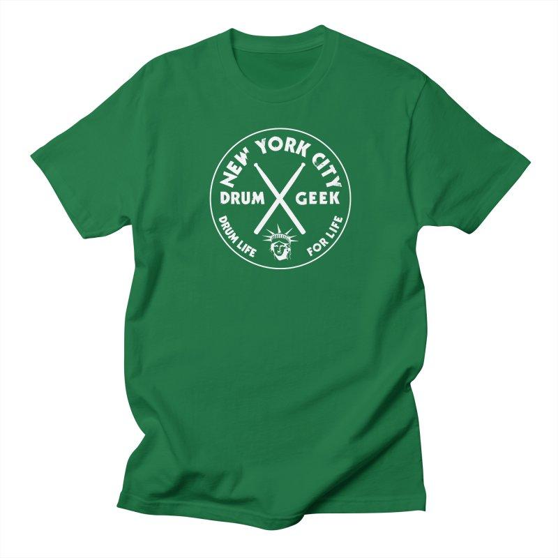 New York Drum Geek in Men's Regular T-Shirt Kelly Green by Drum Geek Online Shop