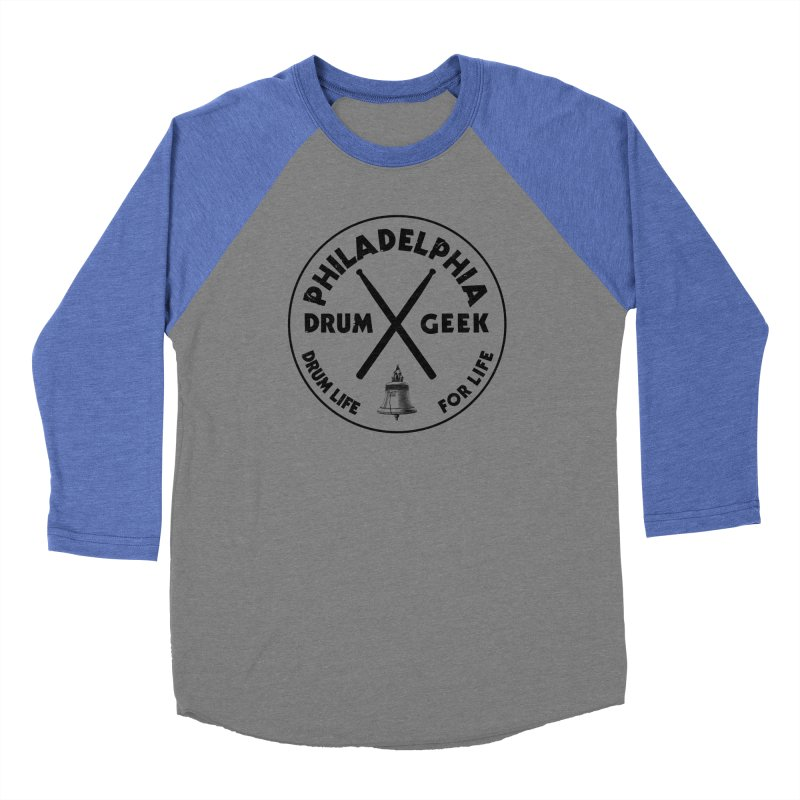 Philadelphia Drum Geek (Style 1) - Black Logo Women's Baseball Triblend Longsleeve T-Shirt by Drum Geek Online Shop