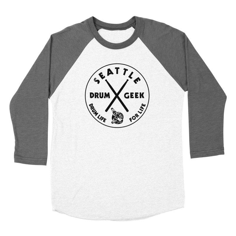 Seattle Drum Geek in Men's Baseball Triblend Longsleeve T-Shirt Tri-Grey Sleeves by Drum Geek Online Shop